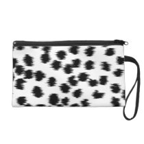 Black and White Dalmatian Print Pattern. Wristlet Purse