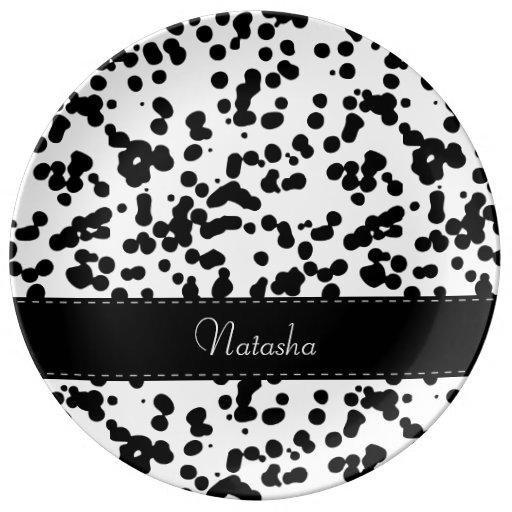 Black And White Dalmatian Spots Dinner Plate Zazzle