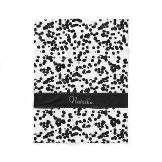 Black and White Dalmatian Spots Fleece Blanket