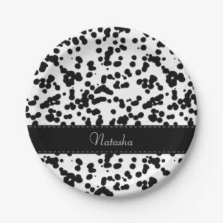 Black and White Dalmatian Spots Paper Plate