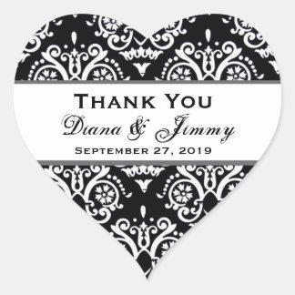 Black and White Damas Thank You Wedding Heart B455 Heart Sticker