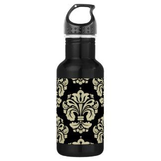 Black and White Damask 18oz Water Bottle