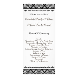 Black and White Damask 1 Rack Card Template