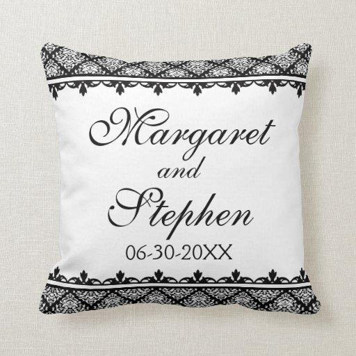 Damask Throw Pillows Black White : Black and White Damask 1 Throw Pillow Zazzle