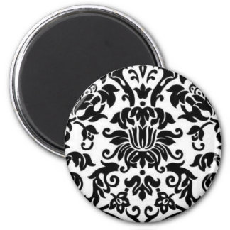 Black and White Damask 2 Inch Round Magnet