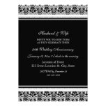 Black and White Damask 50th Anniversary Party Announcements