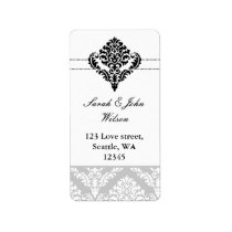 """black and white"" damask address labels"