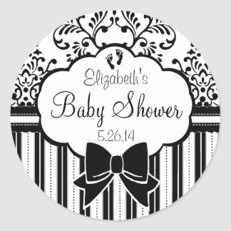 Black and White Damask and Stripes Baby Shower Classic Round Sticker