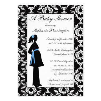 Black and white damask baby boy shower invitation