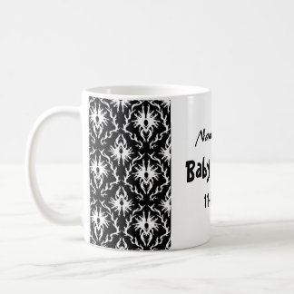 Black and White Damask Baby Shower Classic White Coffee Mug