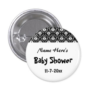 Black and White Damask Baby Shower Pinback Button