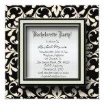 Black and White Damask Bachelorette Party Invitati Personalized Announcements