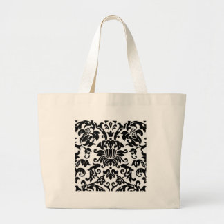 Black and White Damask Canvas Bags
