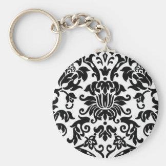 Black and White Damask Basic Round Button Keychain