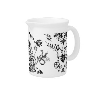 Black and White Damask Beverage Pitchers
