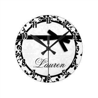 Black and White Damask Black Ribbon Bow Clock