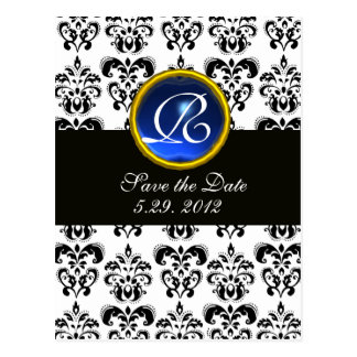 BLACK AND WHITE DAMASK BLUE SAPPHIRE MONOGRAM POSTCARD