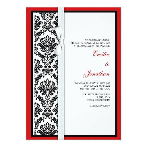 Black And White Damask Bow Wedding Invitation