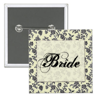 Black and white damask bride button