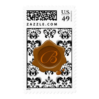 BLACK AND WHITE DAMASK BROWN WAX SEAL MONOGRAM, STAMPS