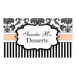 Black and White Damask Business Card with Peach