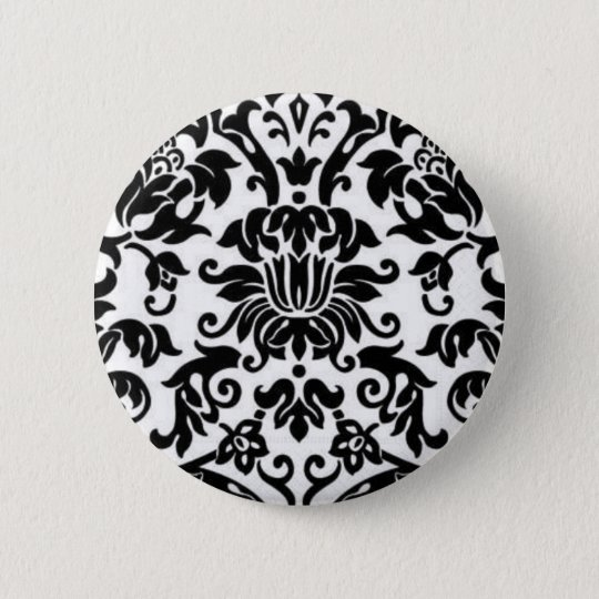 Black and White Damask Button