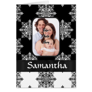 Black and white damask card