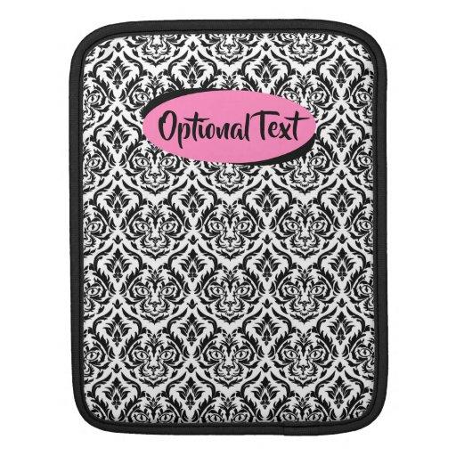 Black and White Damask Cat iPad Sleeve