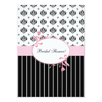 Black And White Damask Chic Bridal Shower 5.5x7.5 Paper Invitation Card