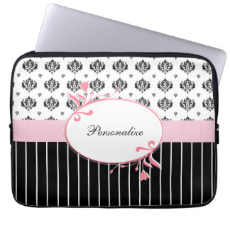 Black And White Damask Chic Pink Floral Laptop Computer Sleeves