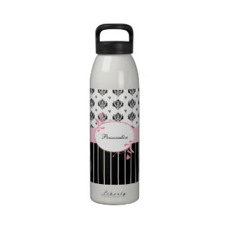 Black And White Damask Chic Pink Floral Reusable Water Bottle
