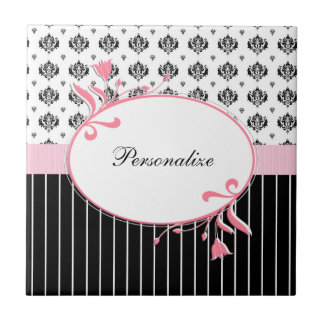 Black And White Damask Chic Pink Floral With Name Ceramic Tile