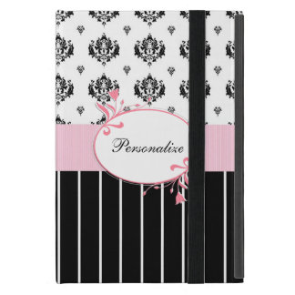 Black And White Damask Chic Pink Floral With Name Cover For iPad Mini
