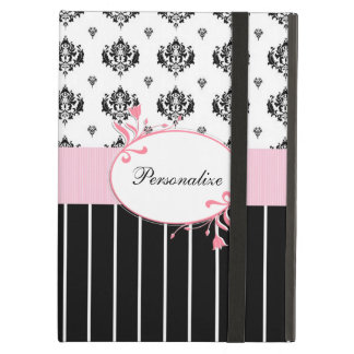 Black And White Damask Chic Pink Floral With Name Cover For iPad Air