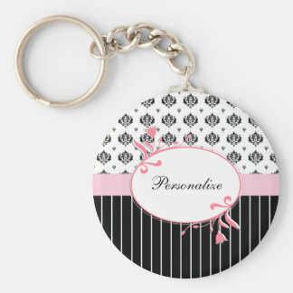 Black And White Damask Chic Pink Floral With Name Keychain