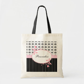 Black And White Damask Chic Pink Floral With Name Tote Bag