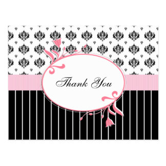 Black And White Damask Chic Thank You Postcard