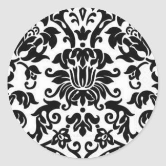 Black and White Damask Classic Round Sticker