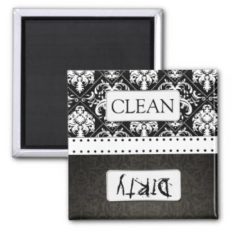 Black and White Damask Clean / Dirty Dishwasher 2 Inch Square Magnet