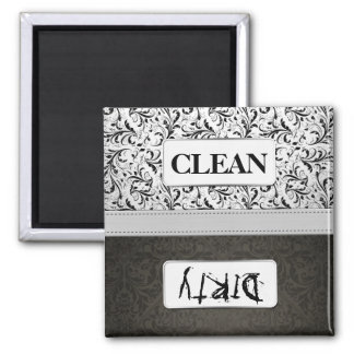 Black and White Damask Clean / Dirty Dishwasher Fridge Magnet