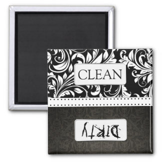 Black and White Damask Clean / Dirty Dishwasher Magnet