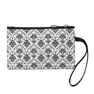 Black and White Damask Coin Purse