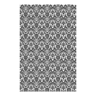 Black and White Damask Craft Paper Stationery