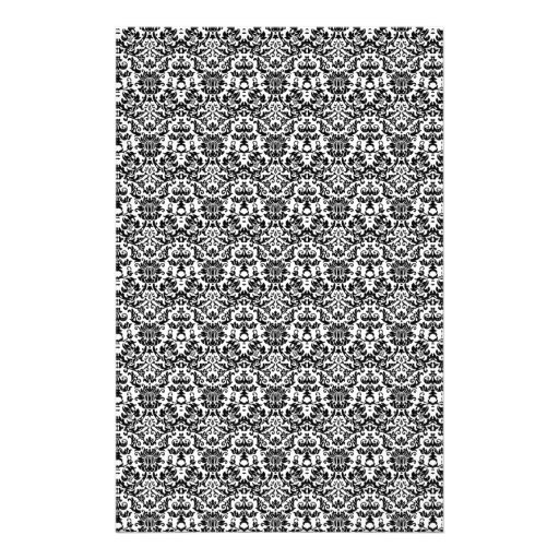 Black and White Damask Craft Paper Custom Stationery