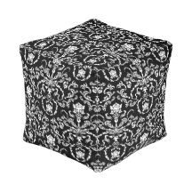 Black and White Damask Cube Pouf
