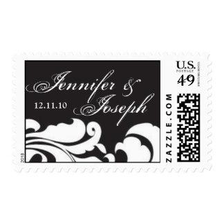 Black and White Damask Customizable Monogram Postage Stamp