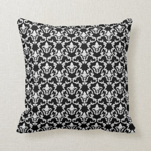 Black And White Decorative Throw Pillows : Black and White Damask Decorative Throw Pillow Zazzle