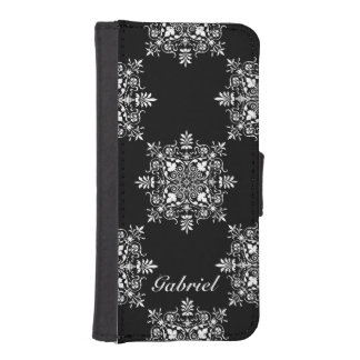 Black and White Damask Design iPhone SE/5/5s Wallet