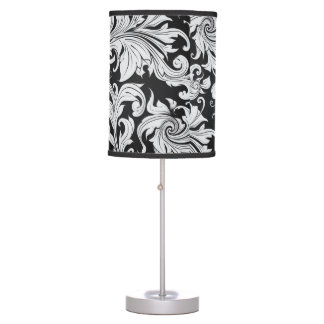 Black and White Damask Desk Lamp