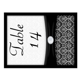 Black and White Damask Double Sided Table Number Postcards